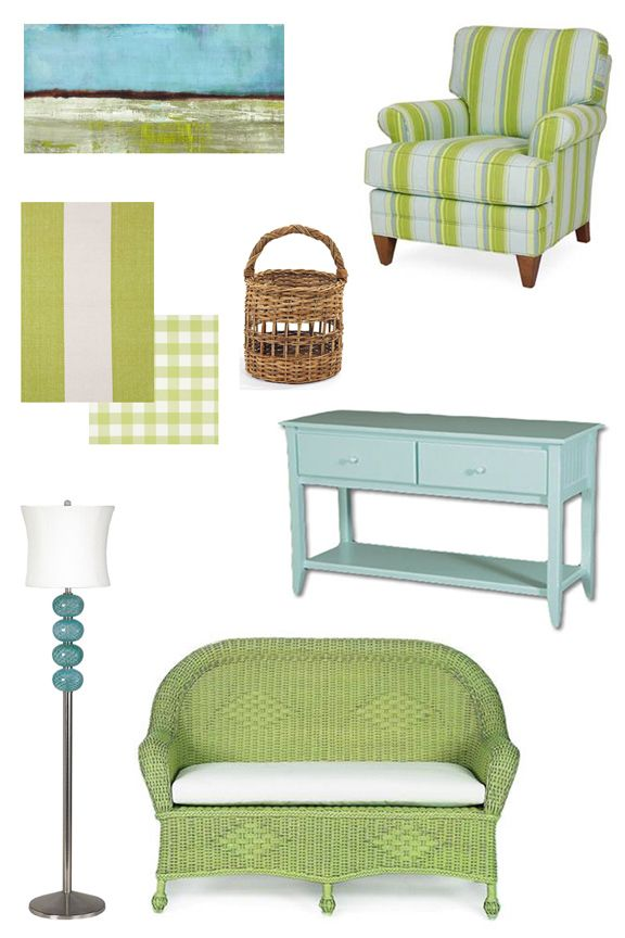 Screened in porch colors? Aqua + Green Coastal and Beach House Cottage Decor Inspiration. Love the lamp and the painting :)