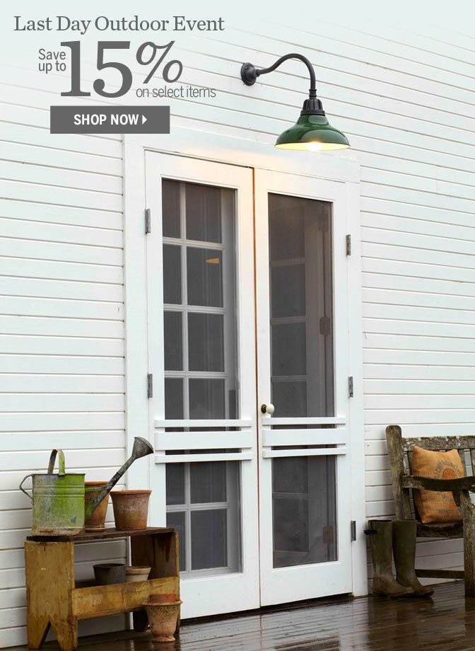 I love the double doors with wooden storms leading to a back deck. Photo from www.rejuvination.com