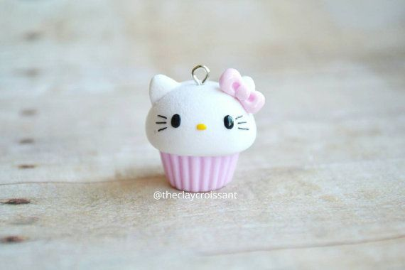 Kawaii Hello Kitty Inspired Cupcake Charm  by TheClayCroissant