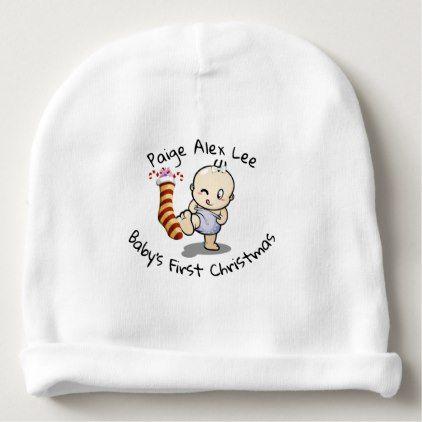 Cute Cartoon Baby Girl Beanie Hat First Christmas - Xmas ChristmasEve Christmas Eve Christmas merry xmas family kids gifts holidays Santa