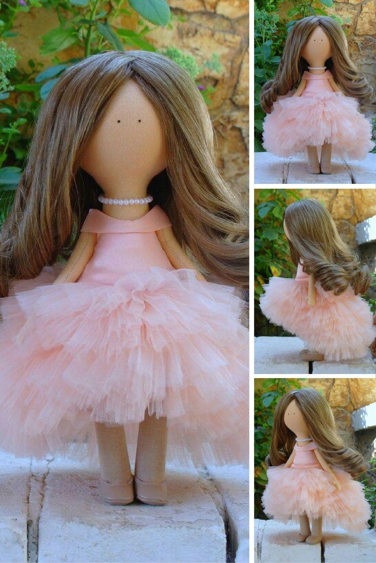Dress doll Fabric doll Handmade doll Soft doll Rag doll Tilda doll peach color…