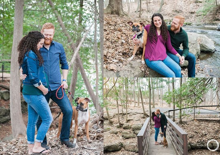Happy couple enjoying pregnancy with a walk in the forest with their dog in Ottawa.