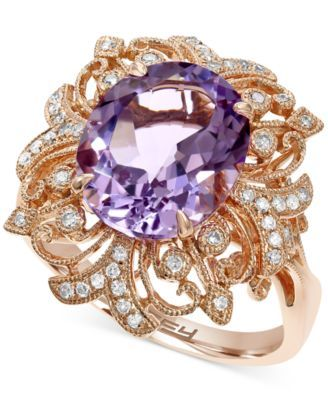 EFFY Pink Amethyst (4-1/2 ct. t.w.) and Diamond  (1/4 ct. t.w.) Ring in 14k Rose Gold