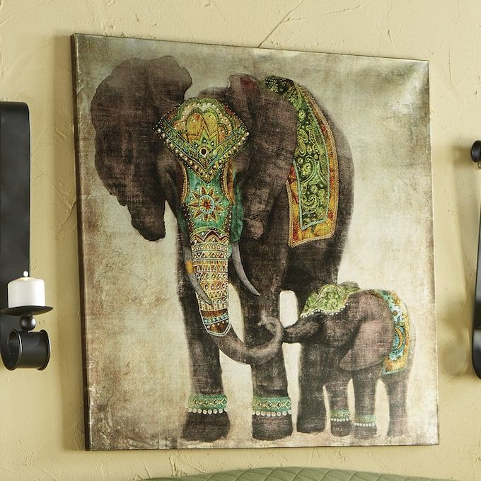 unusual Hand Carved Mirror Elephant Wooden Standing Elephant 60cm