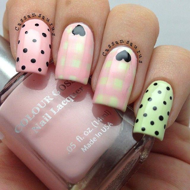 #nails #pink #yellow