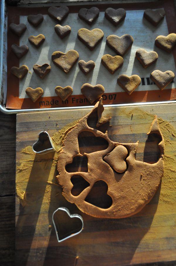 cutting out cinnamon hearts Cinnamon Applesauce Heart Ornaments