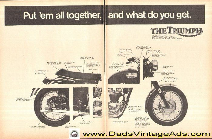 1968 Triumph Motorcycle Parts Diagram vintage ad