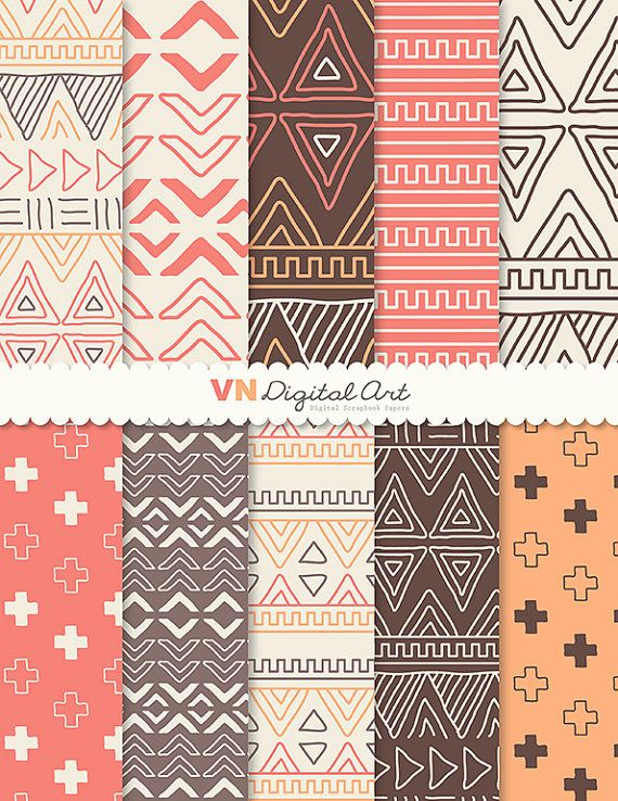 "Digital Paper, Doodle Tribal, Aztec Digital Scrapbook Paper Pack (8.5x11""-300 dpi) - INSTANT DOWNLOAD -- 10 Digital papers -- 524"