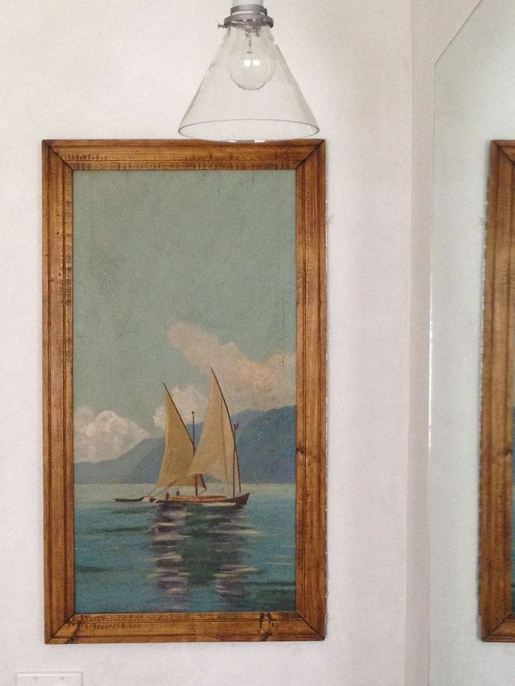 The painting sits flush against the wall. The storage is carved inside the wall.More clever Brook Gianetti of Velvet and Linen!   dovecotedecor.com: Boat Painting, Oil Paintings, Awesome Paintings, Fabulous Ideas, Sailboats Paintings, Bathroom Renovation, Bliss Bath, Medicine Cabinets, Paintings Sit