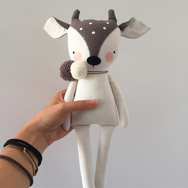 Aw, sweet little fawn guy. He turned out just about the way I'd pictured him. Now he just needs some pants. What do you think? #luckyjuju #luckyjujuprototypes #fawndoll