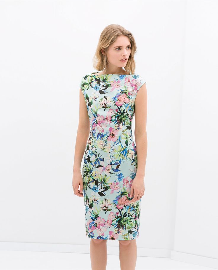 Image 1 of BOAT NECK PRINTED DRESS from Zara
