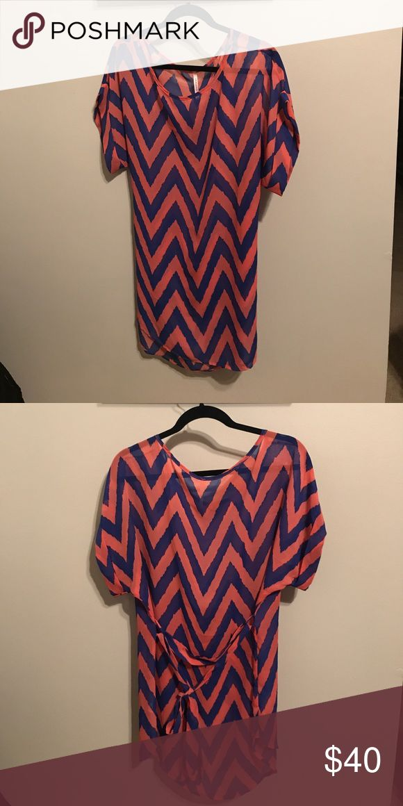 Pink and blue chevron dress Never worn - need to wear slip underneath Dresses Midi
