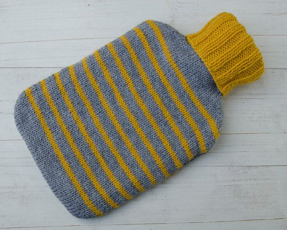 Knitted Hot Water Bottle Cover in Yellow and Gray by LoftLines
