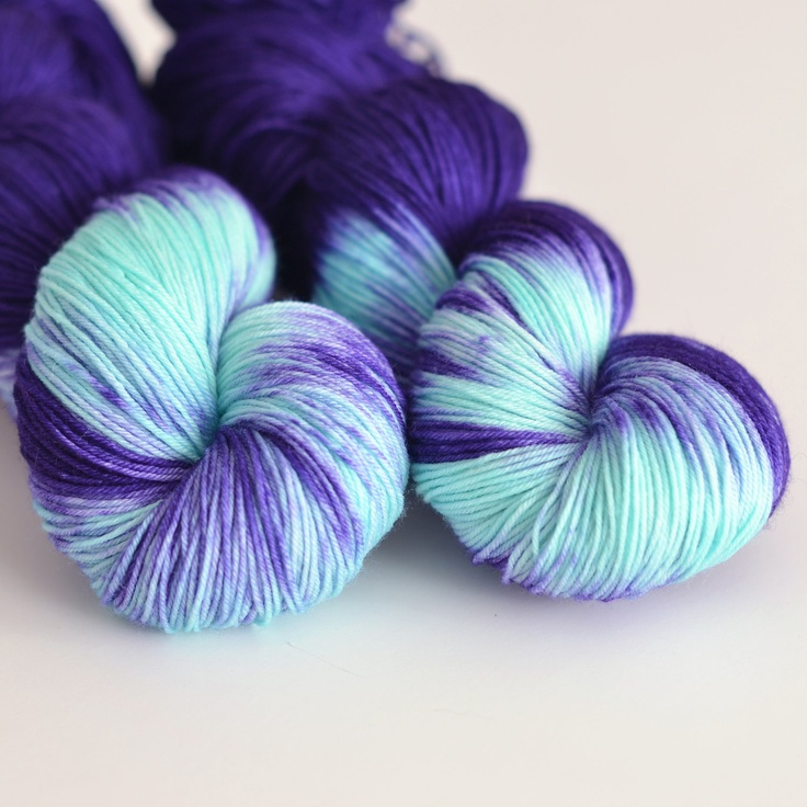 Hand Dyed Sock Fingering Yarn - Superwash British Falkland Merino / Nylon - 465 yards - Hecate - Indigo Purple Blue and Turquoise. $29.00, via Etsy.