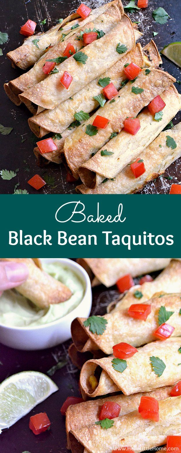 Baked Black Bean Taquitos with Avocado Cream Sauce ... yum! This delcious vegetarian taquitos recipe is made with corn tortillas filled with healthy, gluten free ingredients and packed with flavor. Serve them with salsa or an easy homemade avocado cream sauce (that's also perfect for tacos, enchiladas, etc.)! | Hello Little Home