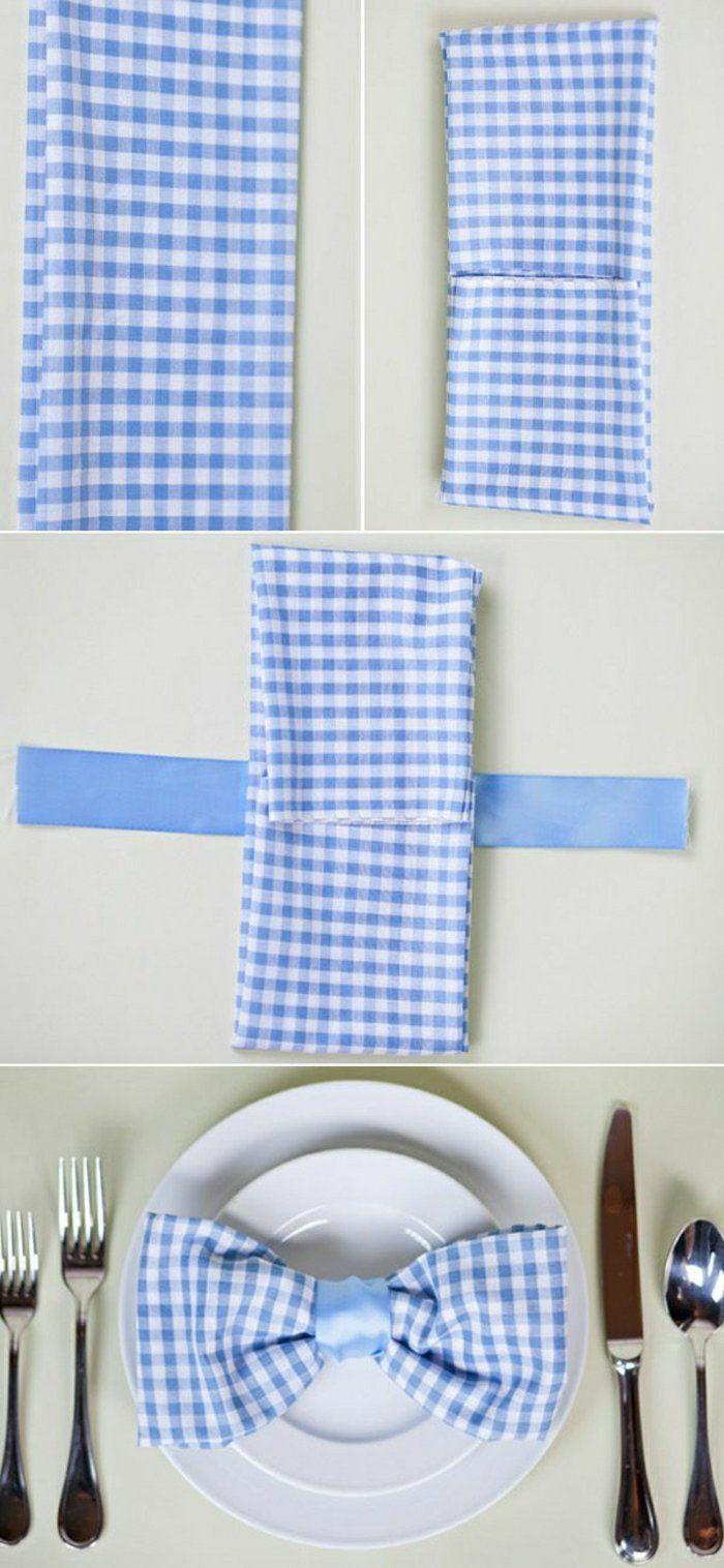 pliage de serviette à carreaux blanc bleu, mode de pliage originale