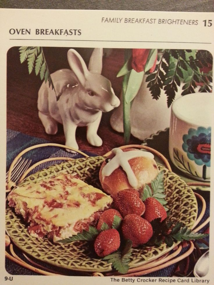 Corned Beef Oven Omelet, With An Evil Bunny Standing By.  (Betty Crocker Recipe Card Library, 1971)