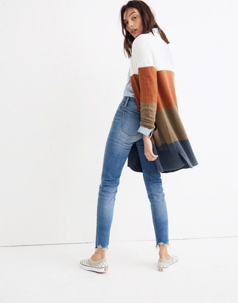 07f351fe9a2 I adore this fall sweater from Madewell! This is such great fall mom style. Kent  Cardigan Sweater in Colorblock Stripe  fall  style  moms