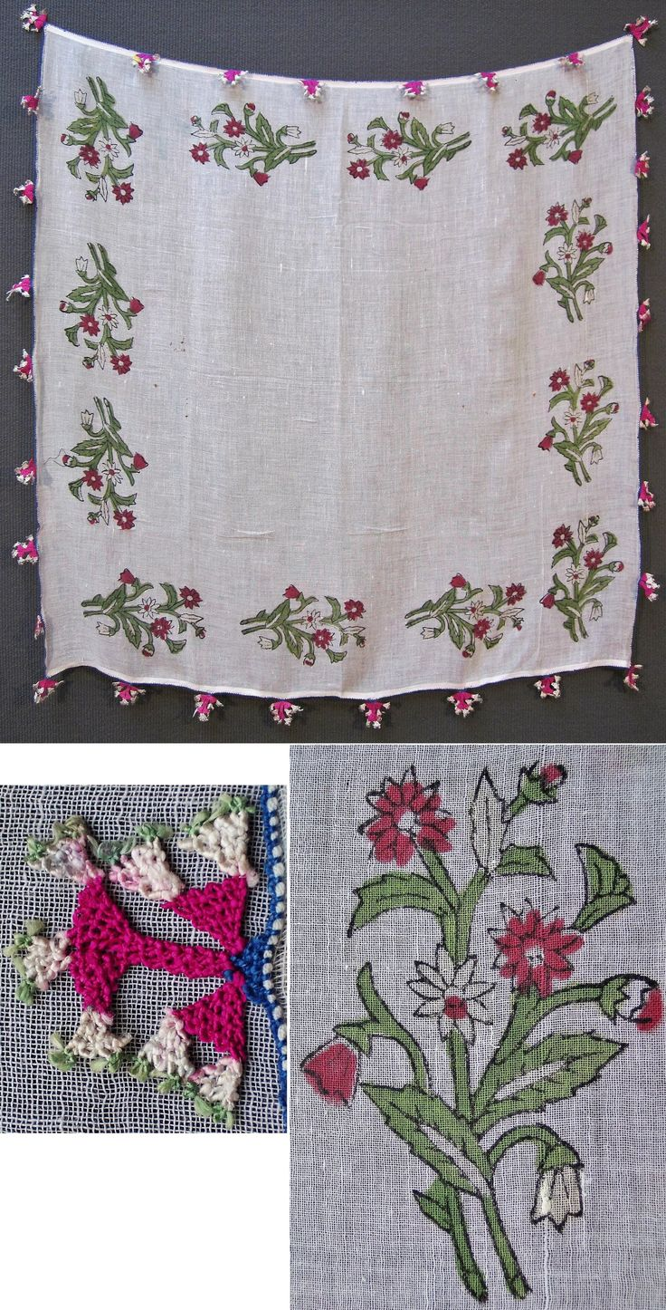 'Oyalı yazma' (headscarf edged with Turkish lace), ca. mid-20th century.  Probably from the Bursa region.  Block printed cotton, edged with cotton 'iğne oyası' (needle lace) featuring a two-dimensional (stylized) flower.  (Inv.n° yaz126 - Kavak Costume Collection-Antwerpen/Belgium).