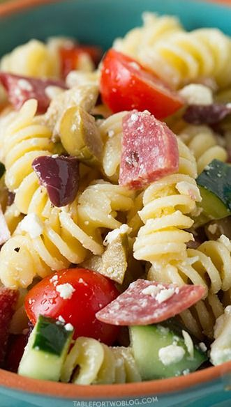 Mediterranean Pasta Salad-Erin made this for us last Friday and it was delicious!