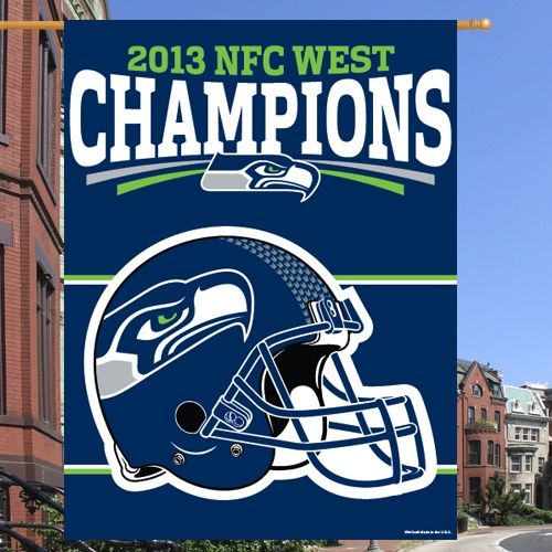 """Seattle Seahawks 2013 NFC West Division Champions 27"""" x 37"""" Vertical Banner"""
