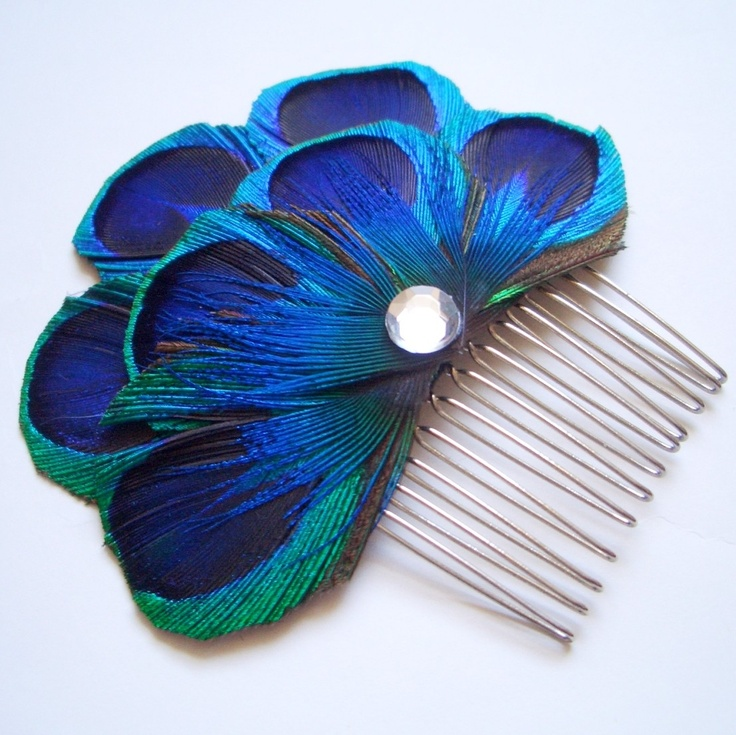 CARLY COMB - Peacock Feather Comb Fascinator Wedding Hair Accessory - Made to Order. $30.00, via Etsy.