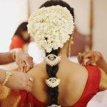 Treditional South Indian Wedding Hairstyle – Long Hair With Flower Decoration