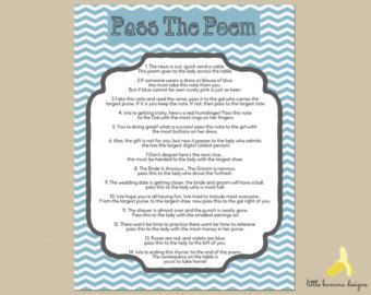 bridal shower game pass the gift poem - Google Search ...