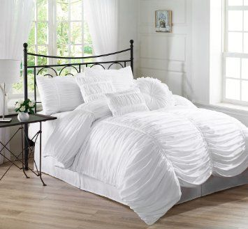 Amazon.com - Chezmoi Collection 7-piece Chic Ruched White Comforter Set, Queen Size (with Throw Pillows)