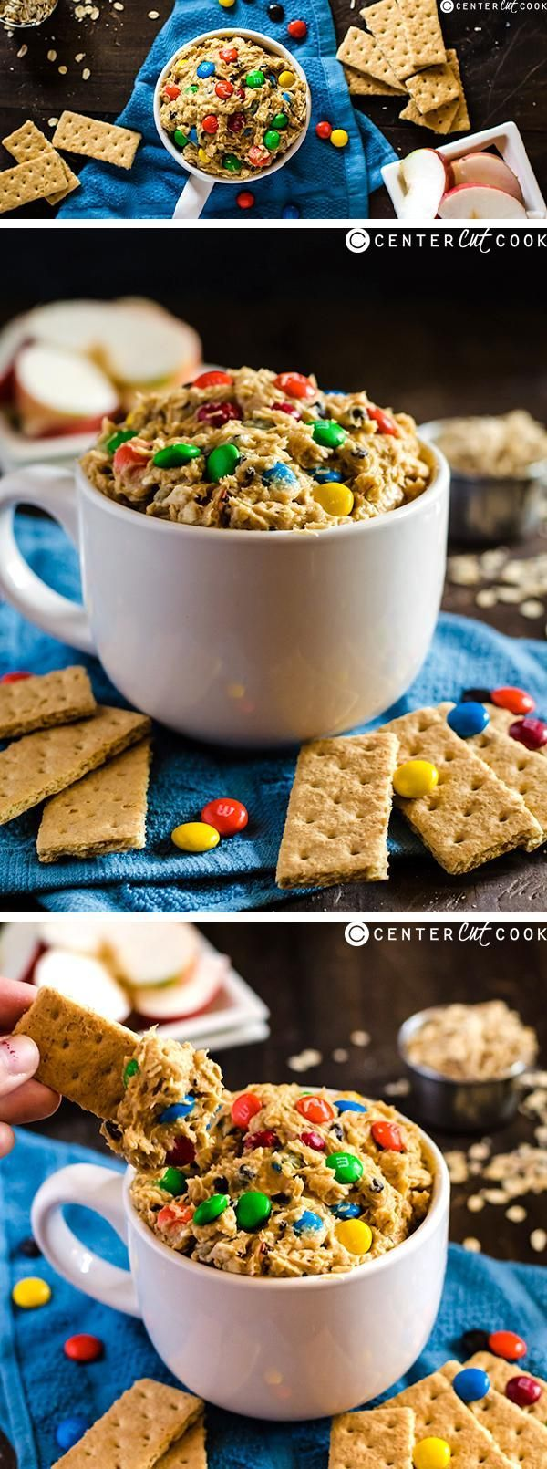 MONSTER COOKIE DOUGH DIP will be a new favorite for your kids! Perfect for parties and using up any leftover candy. This quick and easy eggless cookie dough dip is guaranteed to impress everyone!