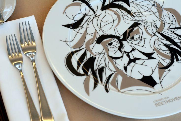 Beethoven Plate designed by Czech caricaturist Josef Blecha at Coda Restaurant