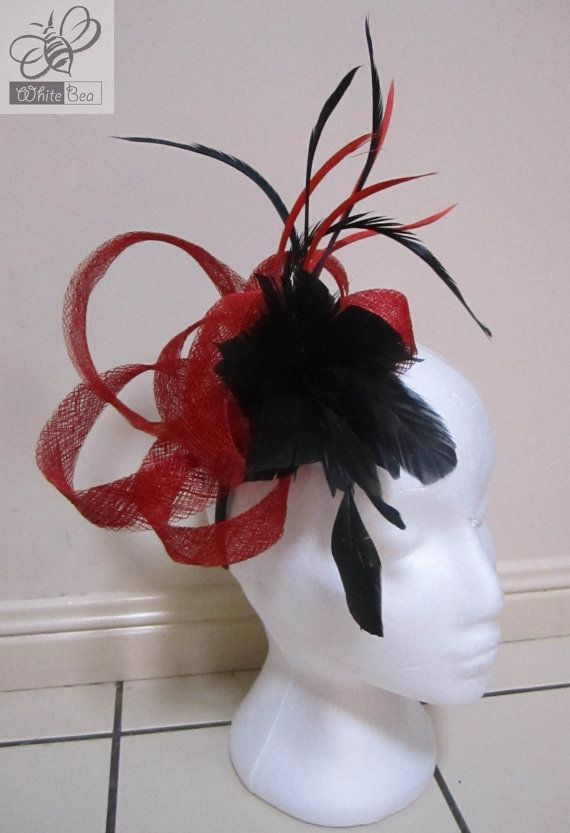Fascinator red sinamay and black feather flower Mia by WhiteBea