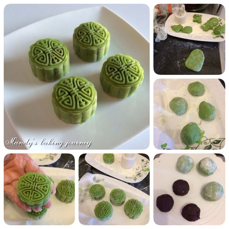 Green tea with red bean paste snow skin moon cakes