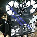 Urne mariage camera theme cinema, ton noir, blanc argente, marilyn monroe