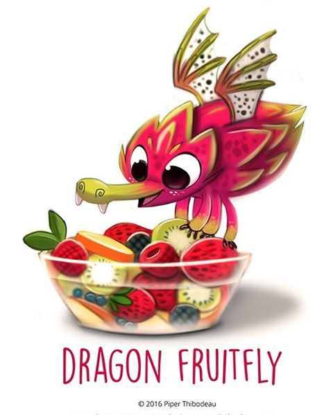 Daily Painting 1423. Dragon Fruitfly by Piper Thibodeau