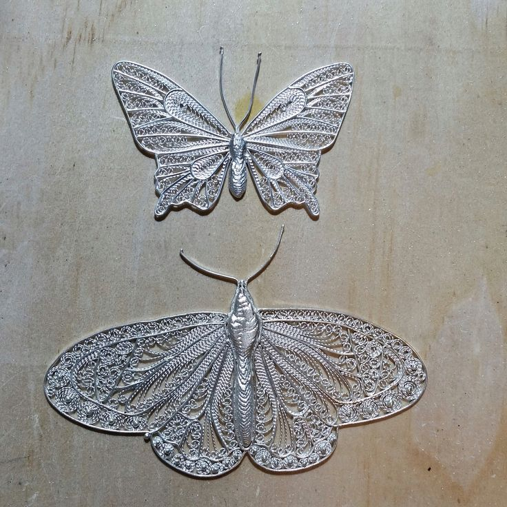 2 more silver butterfly filigree I made over the summer. Bodies are cuttlefish bone casting.