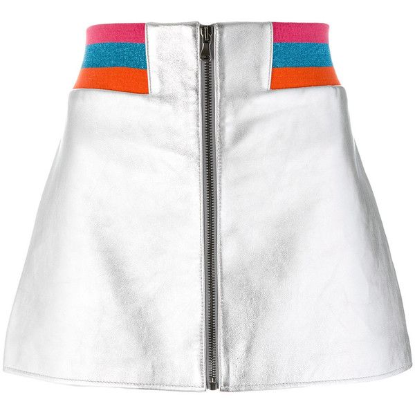 Mira Mikati metallic bomber skirt ($770) ❤ liked on Polyvore featuring skirts, bottoms, grey, metallic skirt, grey leather skirt, front zipper skirt, elastic waist skirt and metallic leather skirt
