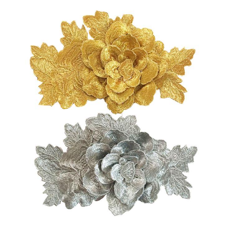 6 шт. 21x13 см 3D Цветок Вышитые Патч Золотые Цветы Вышивка Патчи Для Одежды Parches Аппликация Швейные Аксессуары AC0920 купить на AliExpress