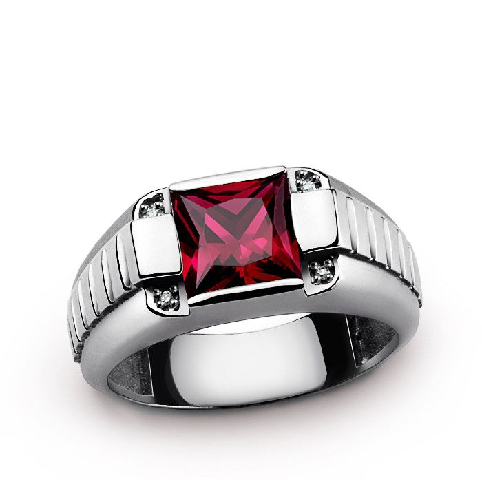 Men's Gemstone Ring in Sterling Silver with Genuine Diamonds and Red Ruby #ringforman #rubyring #finejewelry #menssilverring #mensgemstonering #mensdiamondring #jewelsformen #mensjewelryfashion #jewelrytrends