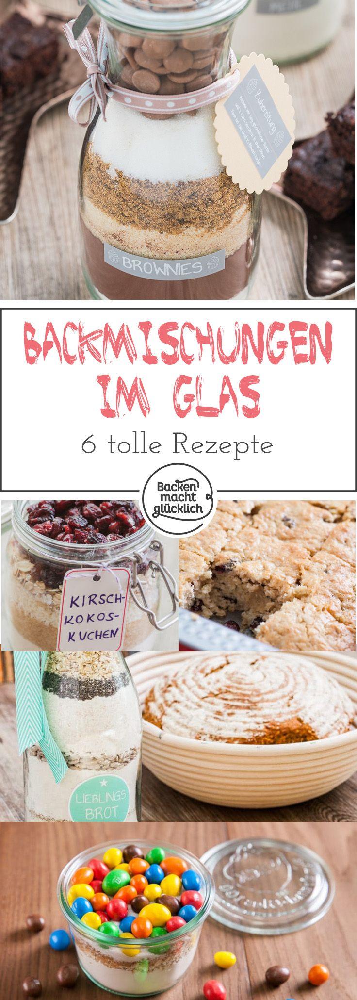 6 tolle Rezepte für Backmischungen im Glas - da ist ein Geschenk für jeden Anlass dabei. Hier findet ihr nicht nur leckere Rezepte für Backmischungen, sondern auch eine Anleitung, damit das individuelle Geschenk besonders hübsch wird.