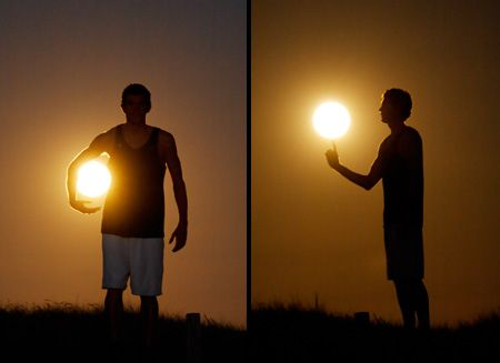 Amazing images show people interacting with the moon.