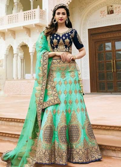 890c93f805 sea green and blue combination suit | Pakistani Dresses in 2019 ...