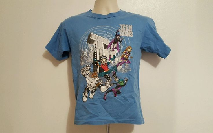 Teen Titans Multi Color Characters Blue Medium Boys TShirt #TeenTitans #TShirt