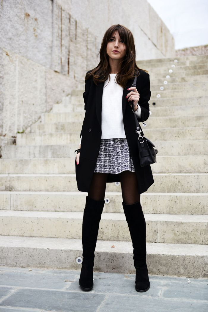 Black Tights:Glen check skirt&long boots