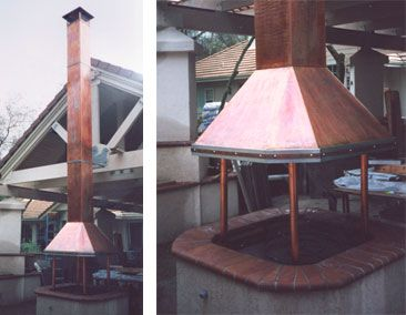 Fire pit hood with stack