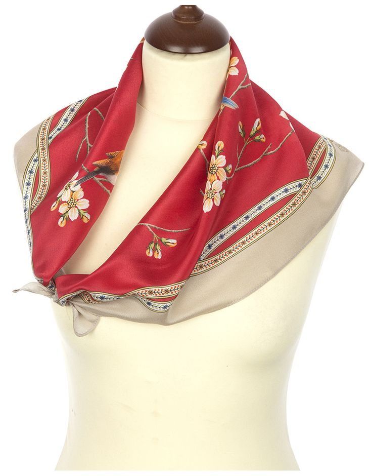 Red Silk scarf ''Ringing Morning'' | RusClothing.com  #red #silk #scarf #russian