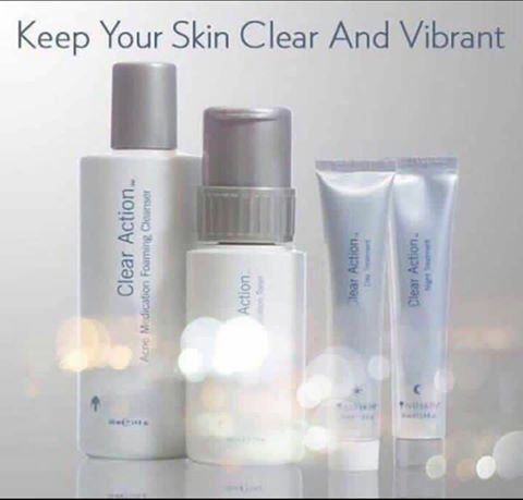 Suffer from acne? Suffer no more ! Our CLEAR ACTION SYSTEM is designed to calm the skin, manage present oil levels and clear away the past, present and future signs of break outs. -The system includes - -Foaming cleanser to cleanse deep into your pores. -Toner to keep your complexion shine free -Day treatment to protect & revitalise -Night treatment to minimise signs while you sleep Message me to order