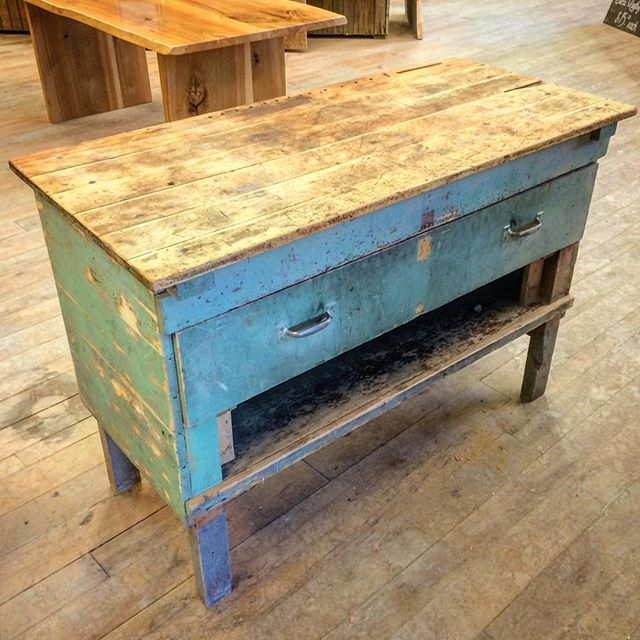 We absolutely love this reclaimed painted workbench! It's perfect as an island in any modern or rustic kitchen...or as a workbench, I guess. #interiordesign #design #reclaimedwood #woodworking