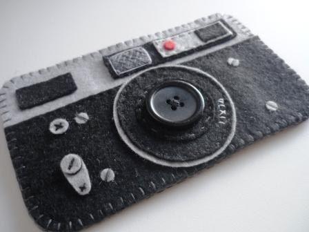 Caja de la cámara para el iphone - nuevo iphone 5 - ipod-móvil-cámara de fieltro