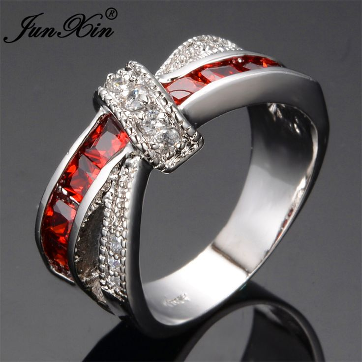 Junxinミステリー赤十字リングファッションホワイト&ブラックゴールド充填ジュエリーヴィンテージの結婚指輪誕生日石の贈り物